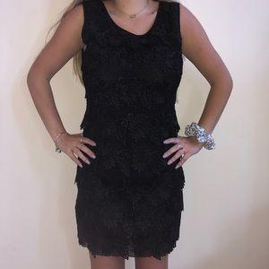Black Feathered Body Con Dress - medium